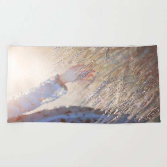 Hands and sunset Beach Towel