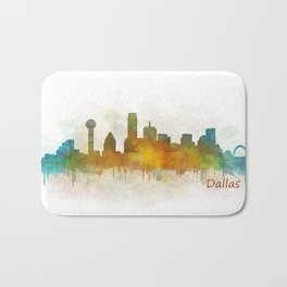 Dallas Texas City Skyline watercolor v03 Bath Mat