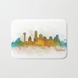 Dallas Texas City Skyline watercolor v03 Bath Mat