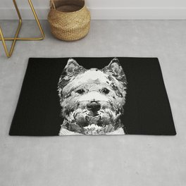 Black And White West Highland Terrier Dog Art Sharon Cummings Rug