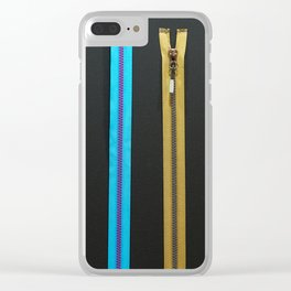 Zippers for clothes on black Clear iPhone Case