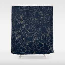 Stylish navy blue gold hand drawn floral Shower Curtain