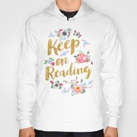 gold foil Hoodies featuring Keep On Reading Gold Foil by Evie Seo