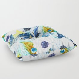 Watercolor Peacock Feather Pattern Floor Pillow
