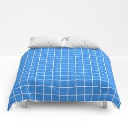 Bleu de France - blue color - White Lines Grid Pattern Comforters