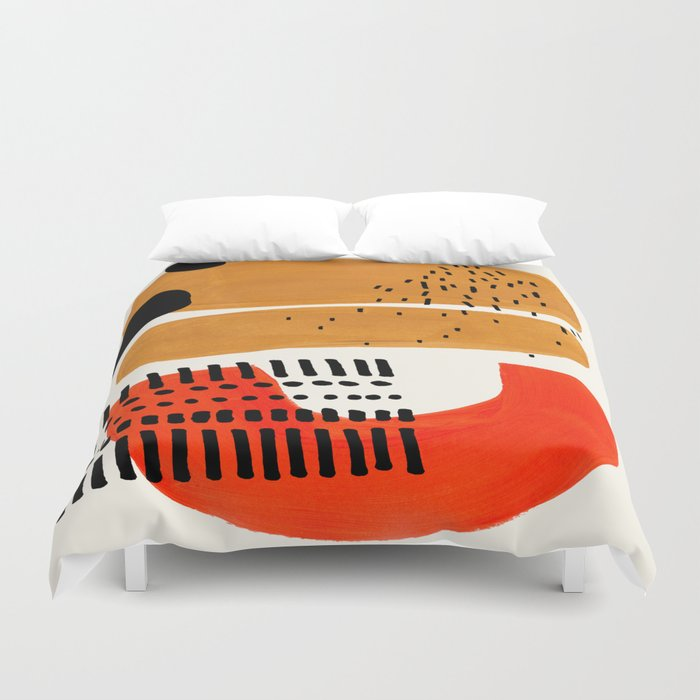 Mid Century Modern Abstract Minimalist Retro Vintage Style Fun Playful Ochre Yellow Ochre Orange  Duvet Cover