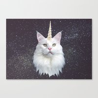 unicorn Canvas Prints featuring Unicorn Cat by Oh Monday