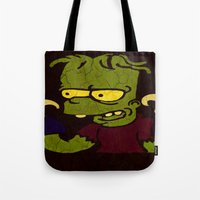 simpson Tote Bags featuring Bart Simpson by Jide