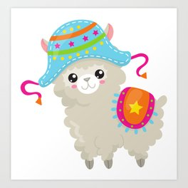 Cute Llama with Colorful Hat and Blanket Art Print