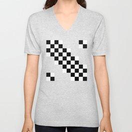 Black and white squares Unisex V-Neck