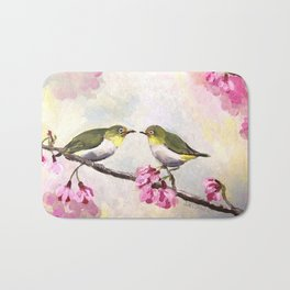 Japanese White Eye Birds Bath Mat