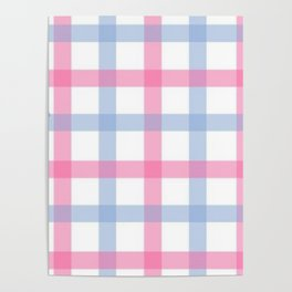 Pink and Blue Gingham Poster
