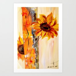abstract sunflower Art Print