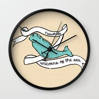 narwhal Wall Clocks featuring Narwhal  by Northwest Ness
