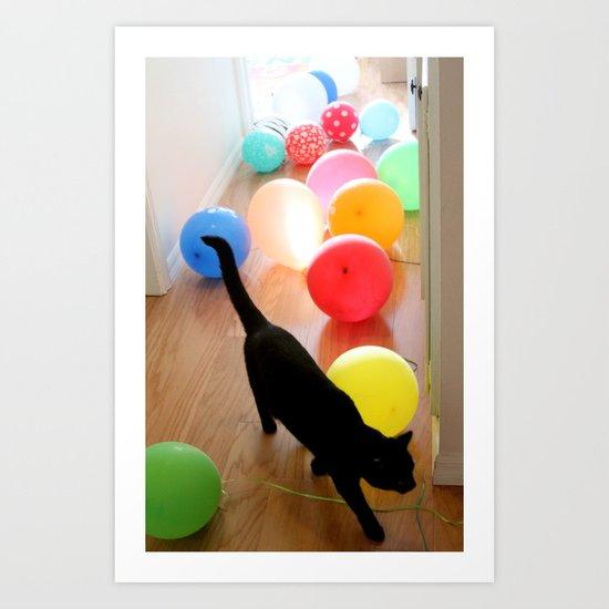 BALLOON LOVE   - Cat and balloons Art Print