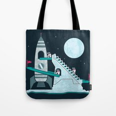 Penguin Space Race Tote Bag