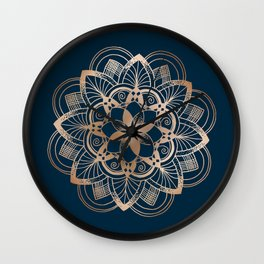 Lotus metal mandala on blue Wall Clock