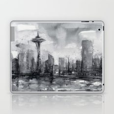 Seattle Skyline Painting Watercolor Black and White Space Needle Laptop & iPad Skin