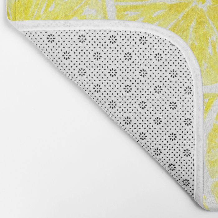 Lemon slices pattern watercolor Bath Mat