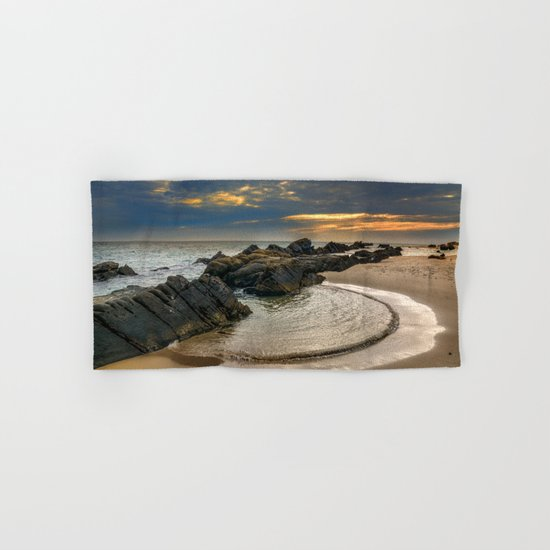 Windy Tarifa beach. Wild swiming pools. Hand & Bath Towel