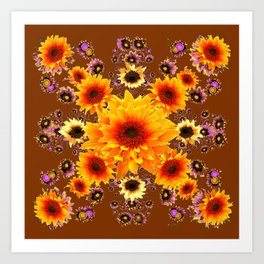 COFFEE BROWN GOLDEN SUNFLOWER MODERN ART DESIGN Art Print