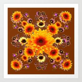 COFFEE BROWN GOLDEN SUNFLOWER MODERN ART DESIGN Art Print