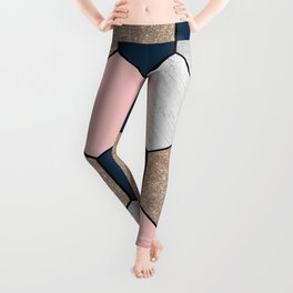 Navy and peach marble and foil hexagons Leggings