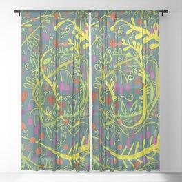 Dark Garden Gone Wild Sheer Curtain