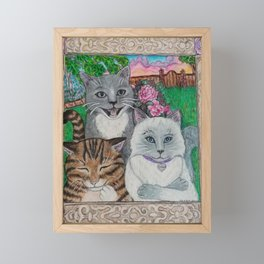 Laughing Cats Framed Mini Art Print
