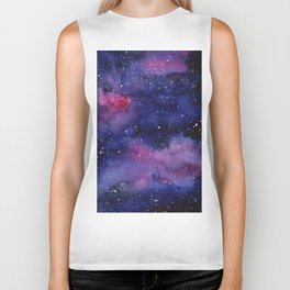 Watercolor Galaxy Nebula Pink Purple Sky Stars Biker Tank