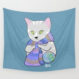 Autumn and winter cats - knitting Wall Tapestry