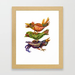 Three Birds Totem Framed Art Print