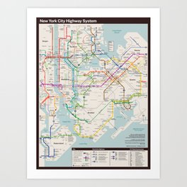New York City Highway Diagram Art Print