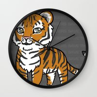 tigers Wall Clocks featuring TIGERs by hoshi-kou