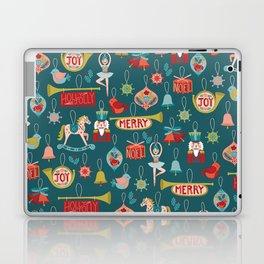 Teal Christmas Ornament Pattern Laptop & iPad Skin