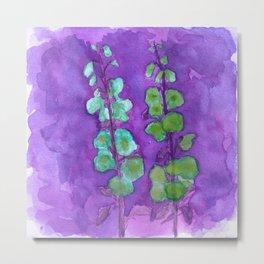 Hollyhock Foxglove Watercolor Indigo Turquoise Moss Metal Print