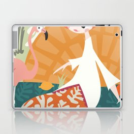 Girl with flamingo and Henri Matisse inspired decoration, vector illustration Laptop & iPad Skin