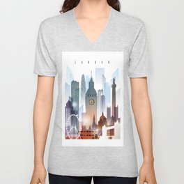 London city skyline, United Kingdom Unisex V-Neck
