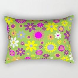 Flowers, Petals, Blossoms - Green Purple Pink Rectangular Pillow