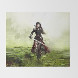 Lady knight - Warrior girl with sword concept art Throw Blanket