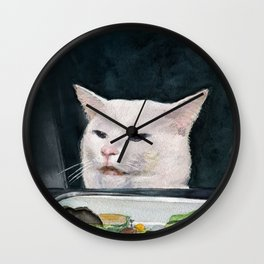 Woman Yelling at Cat Meme-4 Wall Clock