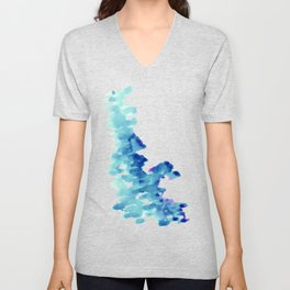 Blue, turquoise water cloud. Colorful watercolor painting Unisex V-Neck
