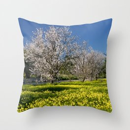 Almond trees and wild flowers (in Portugal) Throw Pillow