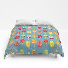 Fruit popsicles - blue version Comforters