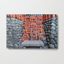 Mini Toriis in Fushimi Inari Shrine Metal Print
