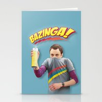 bazinga Stationery Cards featuring Sheldon  - BAZINGA! by ShannonPosedenti