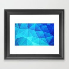 Abstract Polygon Multi Color Cubizm Painting in ice blue Framed Art Print