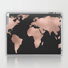 Rose Gold World Map on Dark Gray Laptop & iPad Skin