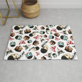Pop Cats - Pattern on White Rug