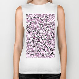 """""""The Face"""" - inspired by Keith Haring v. purple Biker Tank"""